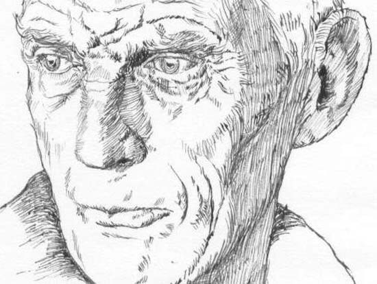 Line drawing of Samuel Beckett110514